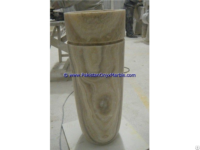 Afghan Green Jade Onyx Columns Handcraved Pillars Carved Top