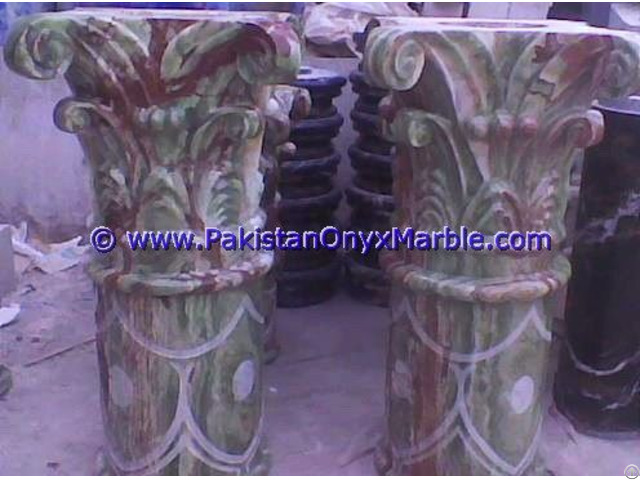 Onyx Columns Tops Designs Handcraved Pillars Carved Top