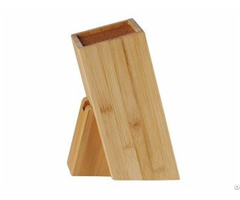 High Quality Free Insert Bamboo Mdf Wooden Square Knife Block