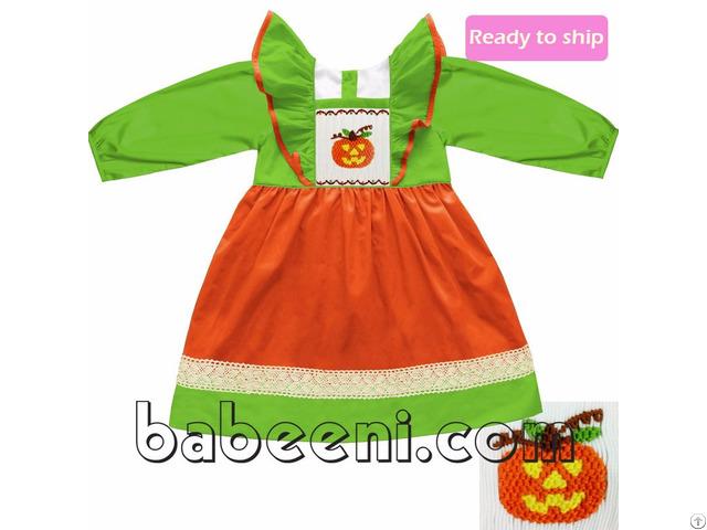 Lovely Pumpkin Smocked Dress Bb318