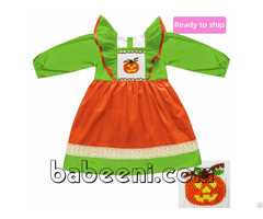 Lovely Pumpkin Smocked Dress Bb318