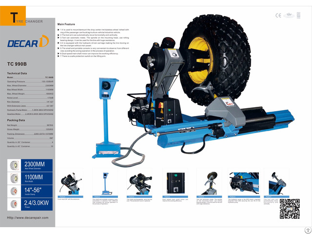 Tc990b Truck Tyre Changer Tire Changing Machine
