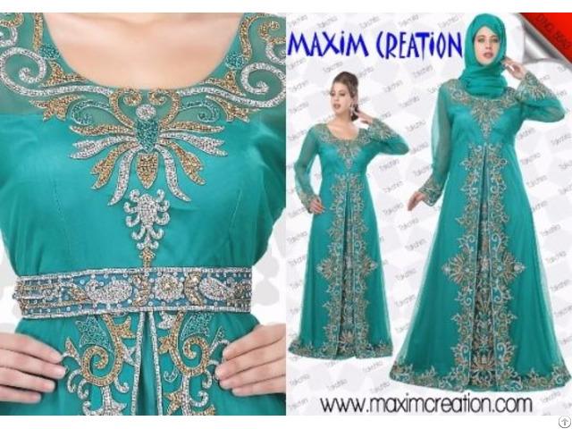 New Fancy Islamic Arabian Party Wear Kaftan Dress