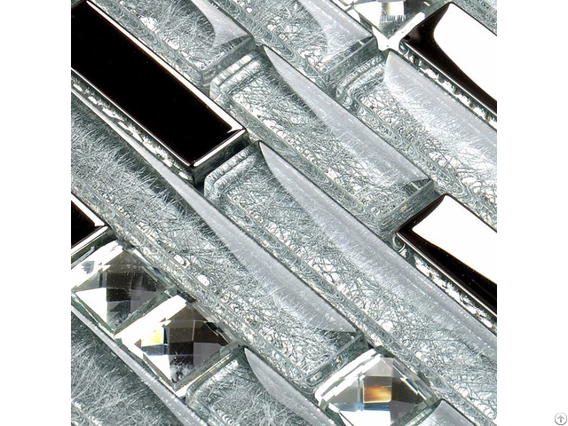 Metal Diamond Glass Mosaic Wall Silver Stainless Steel Backsplash Glossy Clear Crystal Tile