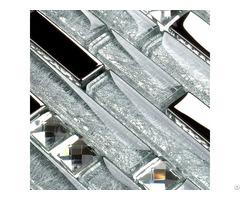 Metal Diamond Glass Mosaic Wall Silver Stainless Steel Backsplash Glossy Clear Crystal Tile