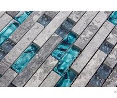 Gray Marble Backsplash Tiles Sea Glass Blue Wave Patterns Natural Stone Bathroom Wall Mosaic