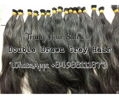 Double Drawn Gray Hair Best Wholesale Price Easily Bleach
