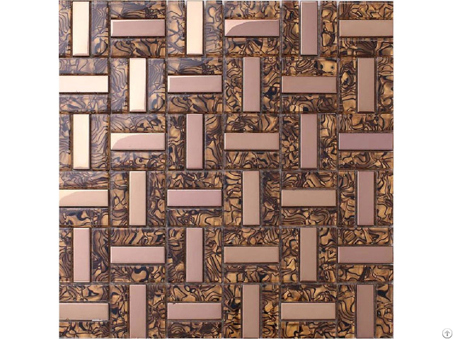 Crystal Glass Tiles Plated Rose Gold Tile Kitchen Wall Backsplash Mosaic Leopard Pattern