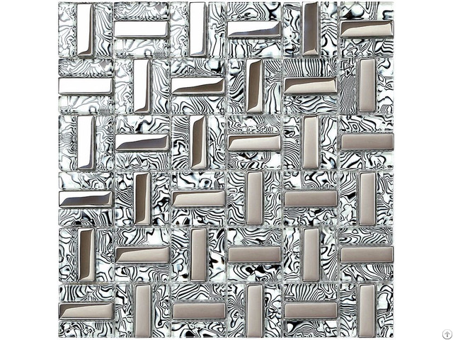 Plated Silver Glass Tile Kitchen Wall Backsplash Strip Mosaic Decor Mirror