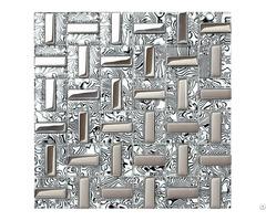 Plated Silver Glass Tile Kitchen Wall Backsplash Strip Mosaic Decor Mirror