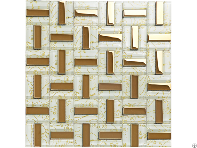 Crystal Glass Tiles Gold Plated Tile Kitchen Wall Backsplash Strip Pattern Decor