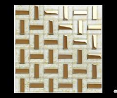 Crystal Glass Tiles Gold Plated Tile Kitchen Wall Backsplash Strip Pattern Decor