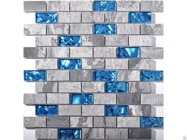 Ocean Blue Glass Tile Backsplash Grey Marble Mosaic Wave Patterns 1