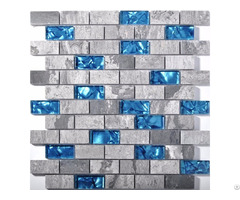 "Ocean Blue Glass Tile Backsplash Grey Marble Mosaic Wave Patterns 1"" X 2"" Subway Brick Wall Tiles"