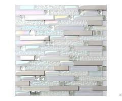 Iridescent Diamond Kitchen Counter Backsplash Silver Stainless Steel Glass Tiles