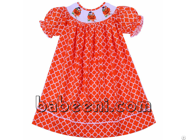 Nice Pumpkin Basket And Candy Smocked Bishop Dress Bb704