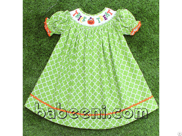 Lovely Pumpkin Smocked Bishop Dress For Girl Bb703