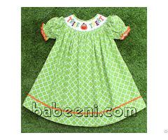 Lovely Pumpkin Smocked Bishop Dress For Girl Bb703