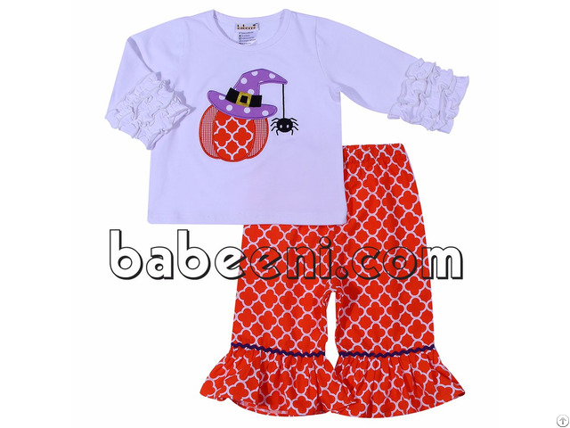Cute Pumpkin And Spider Appliqued Set For Girl Bb698
