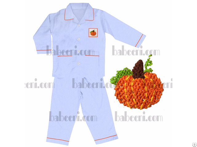 Adorable Pumpkin Hand Smocked Pajamas Bb357