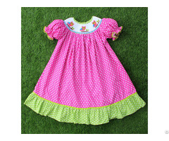 Nice Owl Hand Smocked Bishop Dress Bb353