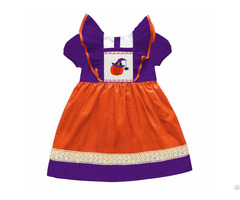 Beautiful Pumpkin With Witch Hat Smocked Dresses Bb337