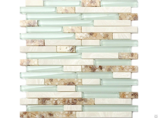Glass Mosaic Tiles Green Crystal Resin Shell Conch Tile White Stone Tiled Bathroom Wall Backsplash