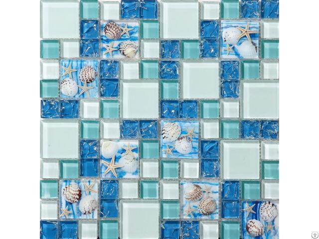 Sea Blue Glass Shell Resin Chips Beach Style Green Aqua Crackle Crystal Mosaic Wall Decor