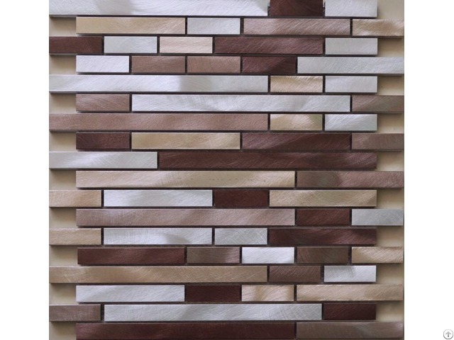 Brushed Aluminum Mosaic Tiles Interlocking Wall Backsplash Tile Kitchen Bathroom