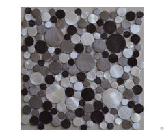 Brushed Aluminum Mosaic Tiles 3d Penny Round Black Silver Wall Backsplash Tile Kitchen