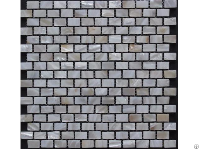 White Mother Of Pearl Subway Tile Backsplash 3 5