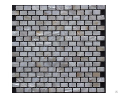 "White Mother Of Pearl Subway Tile Backsplash 3 5"" X 1"" Rectangle Freshwater Shell Mosaic Tiles"