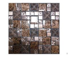 Wave Mosaic Resin Flower Tile Brown Brick Tiles Clear Glass Random Patterns