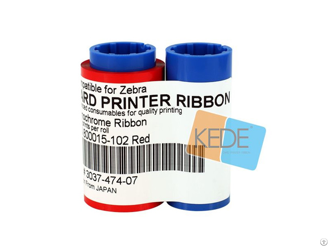 For Zebra 800015 102 Red Monochrome Compatible Ribbon 1000 Prints