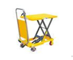 Mini Manual Mechanical Scissor Lift Table 150kg With Safety Wheel Guard