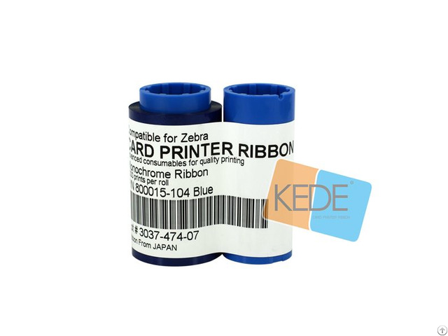 For Zebra 800015 104 Blue Monochrome Compatible Ribbon 1000 Prints Single Sided Cards