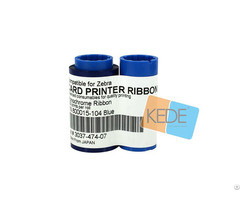 For Zebra 800015 104 Blue Monochrome Compatible Ribbon 1000 Prints Single Sided Cards