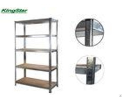 Galvanized 5 Tier Boltless Shelving Cramped Edge Upright With Mdf Board 175kg Capa