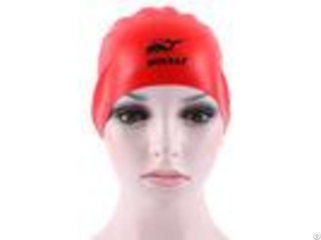 Premium Red Black Silicone Swimming Caps Wrinkle Free Reversible Cap With Print Logo