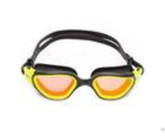 Brown Mirror Gold Lens Silicone Swimming Goggles Comfortable Straps For Men And Women