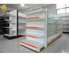 White Color Supermarket Steel Racks Glass Shelf Adversiting Upright