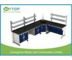 L Shape Hospital Lab Furniture Laboratory Desk With Plywood Cabinet Epoxy Worktop