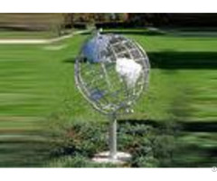 Decorative Stainless Steel Sculpture With Semi Meridian Globe Shape