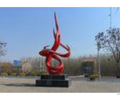 Contemporary Red Painted Metal Sculpture Stainless Steel Dancing Flame Shape