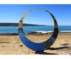 Welding Technique Stainless Steel Sculpture Circle Design For Lawn 150cm Dia