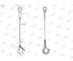 High Bay Hanging System Stainless Steel Wire Rope Slings With Hook Zinc Color