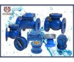 No Noise Ductile Iron Swing Check Valve Rubber Seal Blue Color For Water