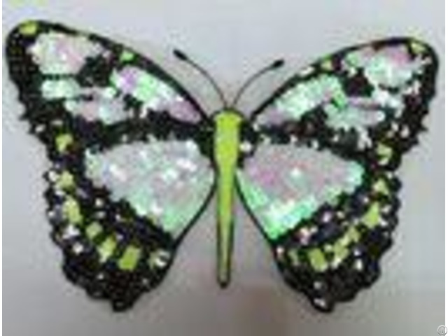 Fabric Sequin Embroidery Butterfly Appliques Mesh For Various Dress