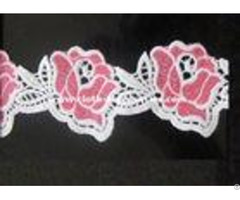 White Pink Floral Water Soluble Lace Trims Machine Embroidery 2 Inch