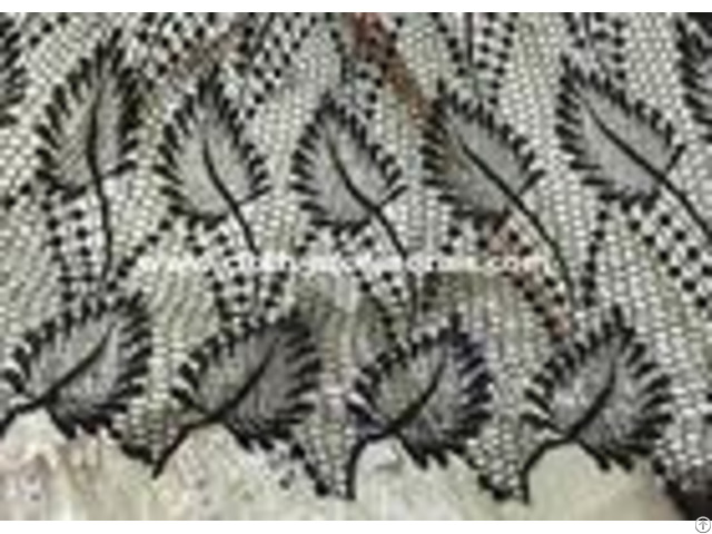 Leaf Shape Black Polyester Water Soluble Lace Fabirc 50 Inch For Textile
